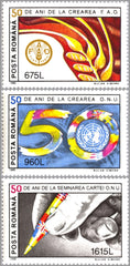 #3987-3989 Romania - FAO and UN, 50th Anniv. (MNH)
