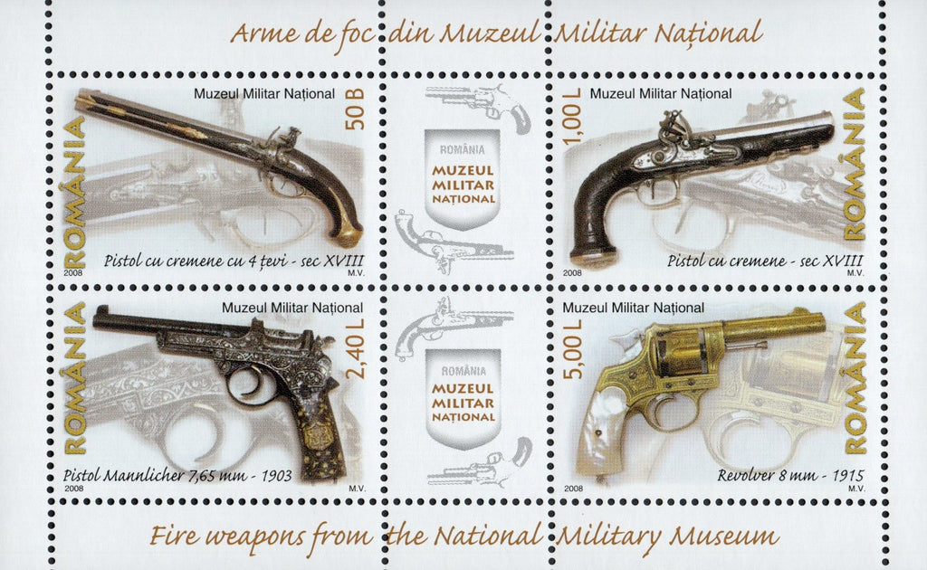 #5022a Romania - Firearms in Natl. Military Museum S/S (MNH)