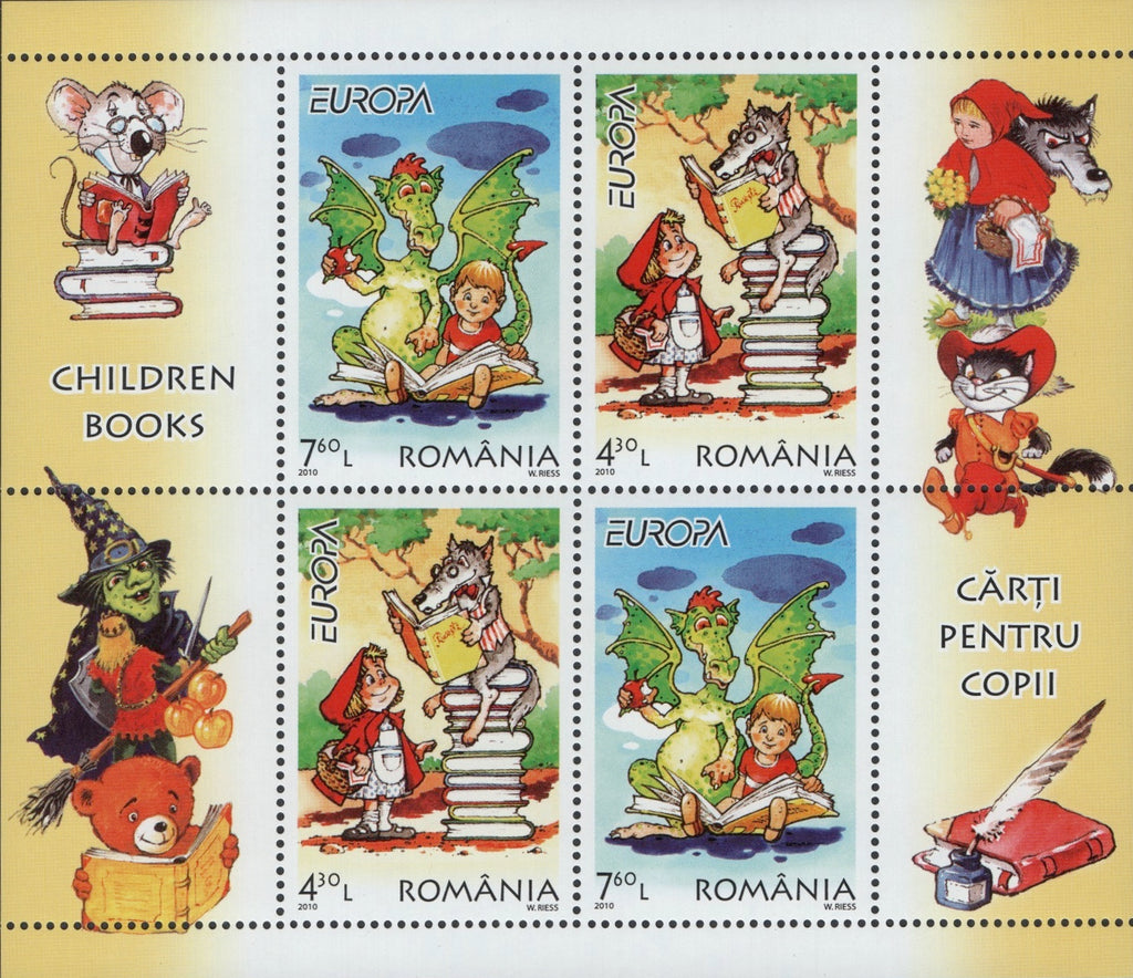 #5167b Romania - 2010 Europa: Children's Books, Sheet of 4 (MNH)