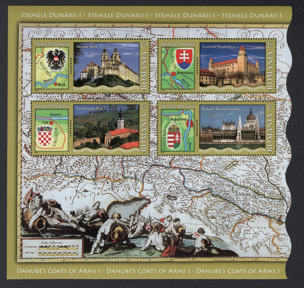 #5171a Romania - Coats of Arms and Landmarks of Countries Along Danube S/S (MNH)