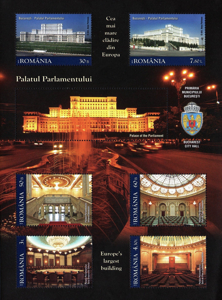 #5260b Romania - 2011 Palace of the Parliament, Bucharest S/S (MNH)