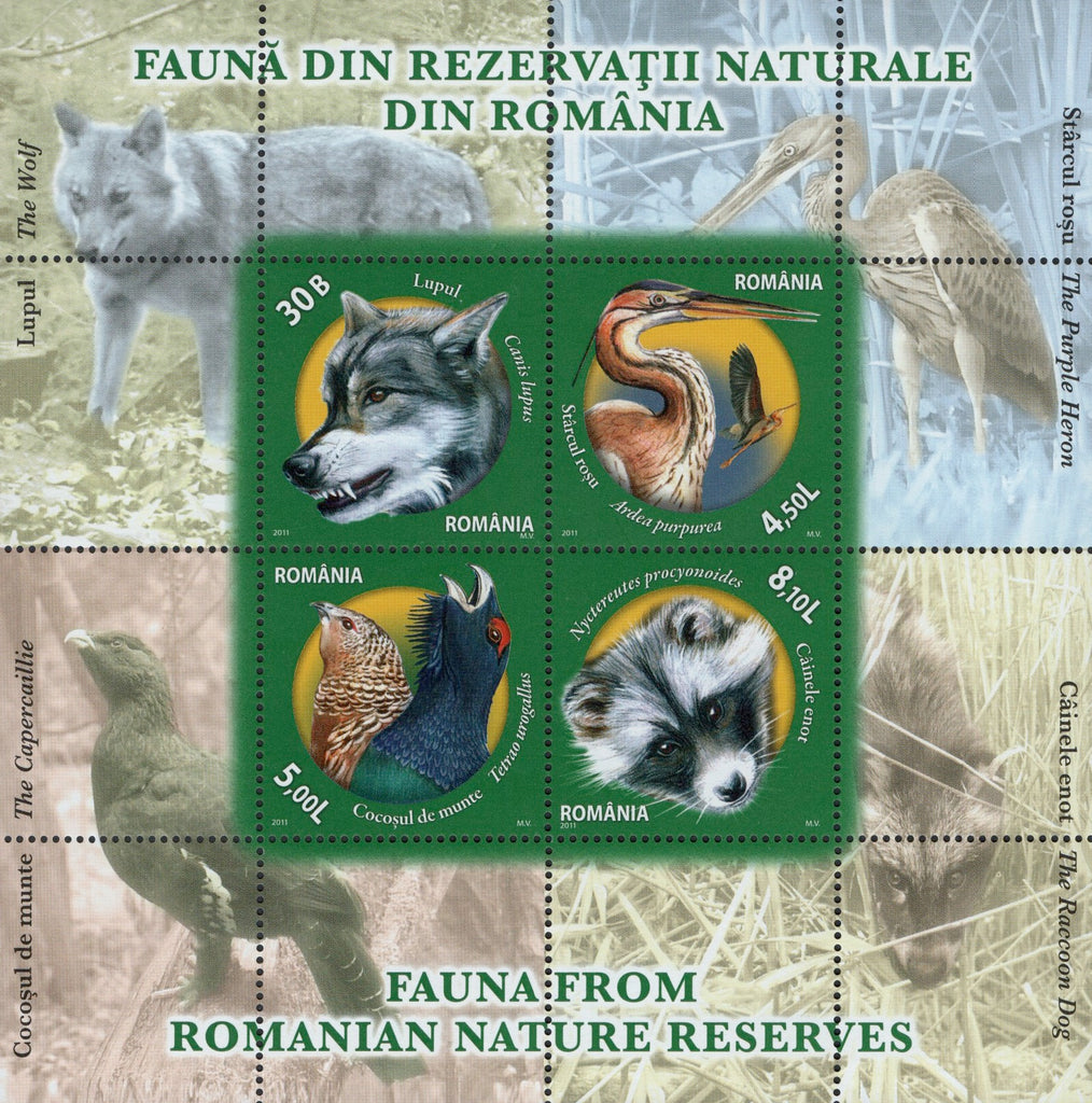#5284b Romania - Animals and Birds in Nature Preserves S/S (MNH)