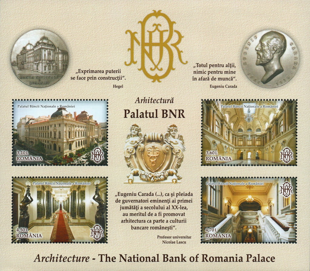 #5439b Romania - 2013 National Bank of Romania, Bucharest S/S (MNH)