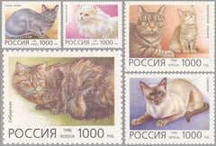 #6307-6311 Russia - Domestic Cats (MNH)