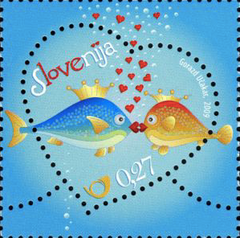 #773 Slovenia - 2009 Greetings: Love (Kissing Fish) (MNH)