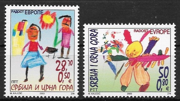 #209-210 Serbia - Joy of Europe: Children's Drawings (MNH)