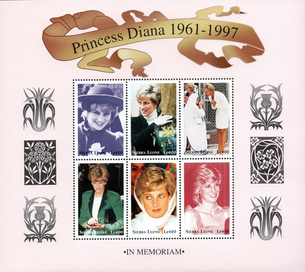 #2090-2092 Sierra Leone - Diana, Princess of Wales, 3 Sheets of 6 (MNH)