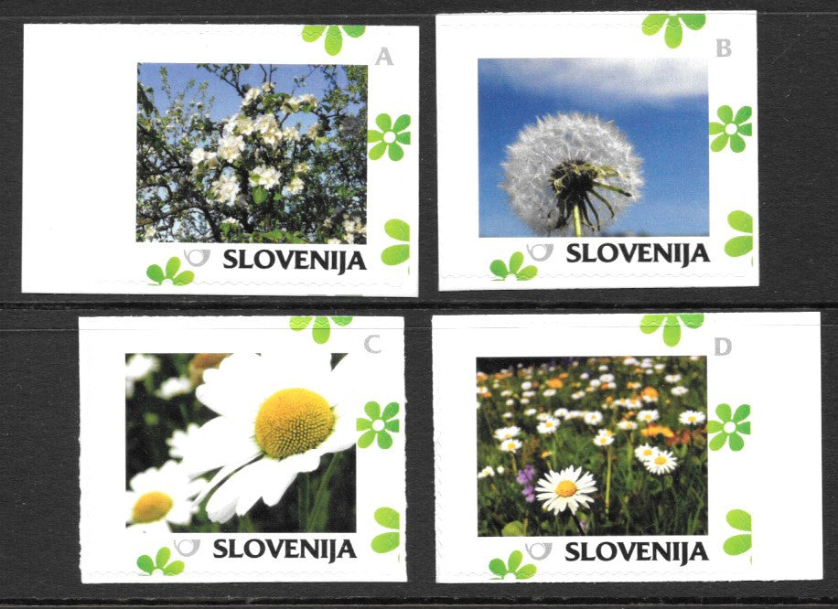 #1070-1073 Slovenia - Personalized Stamps with Green Flowers, Horiz., Set of 4 (MNH)
