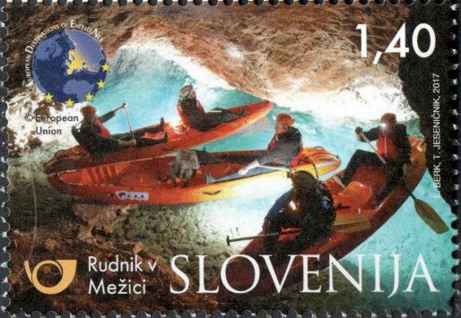 #1214 Slovenia - Kayakers in Mine Beneath Mount Peca (MNH)