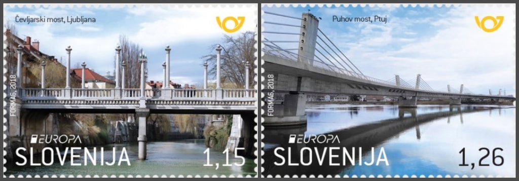 #1275-1276 Slovenia - 2018 Europa: Bridges, Set of 2 (MNH)