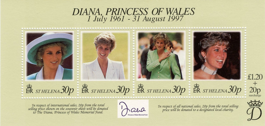 #711 St. Helena - Diana, Princess of Wales, Sheet of 4 (MNH)