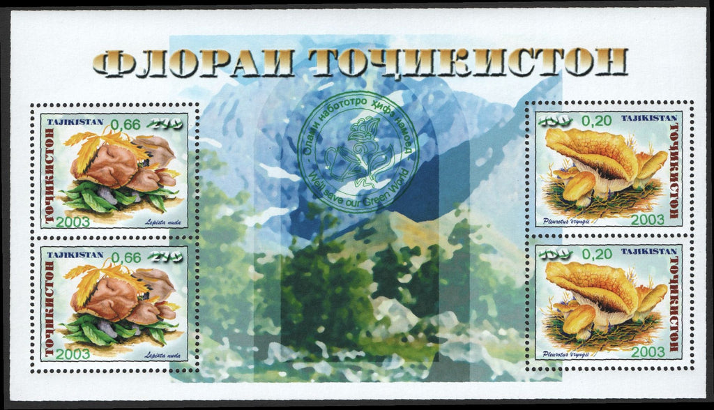 #229 Tajikistan - No. 153 Surcharged in Green M/S (MNH)