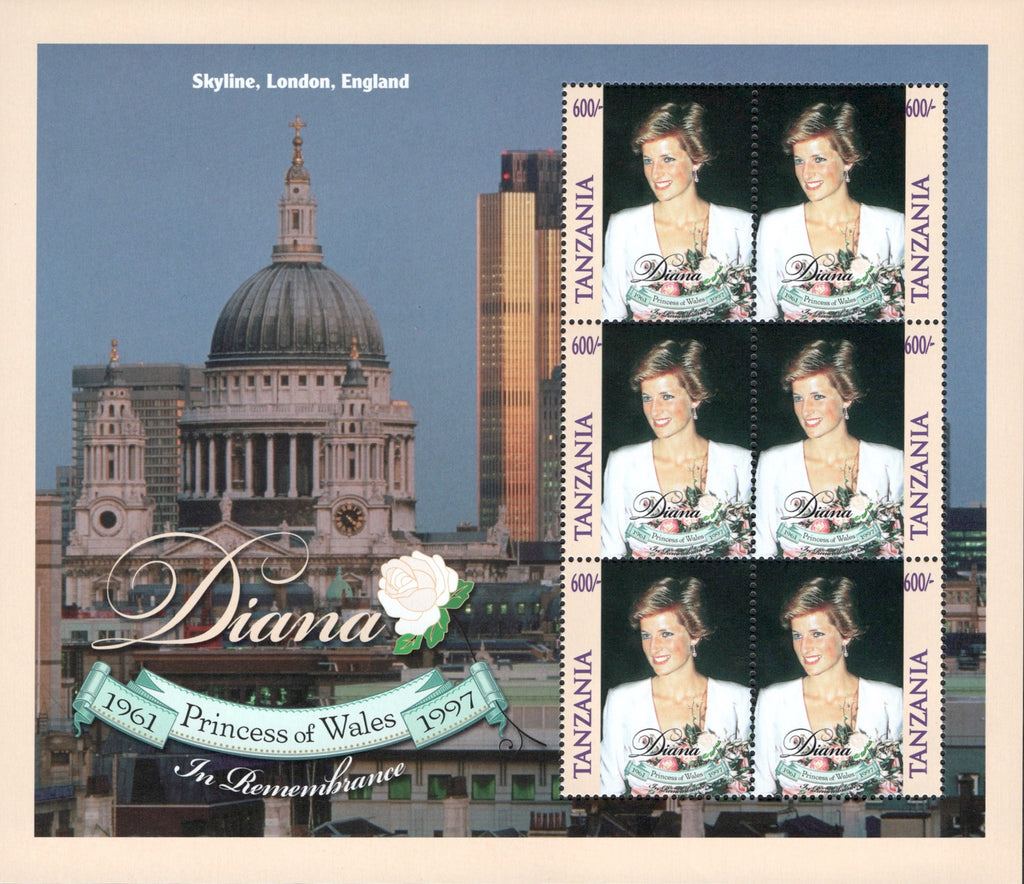 #1758 Tanzania - 1998 Diana, Princess of Wales, Sheet of 6 (MNH)