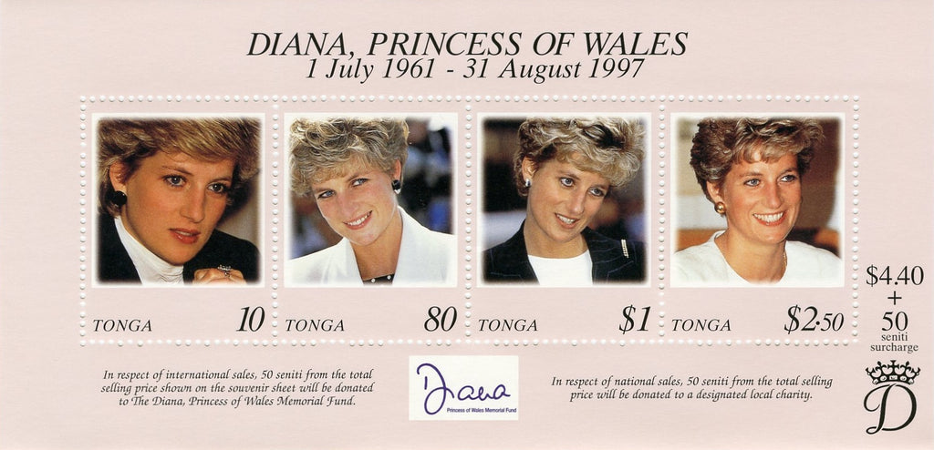 #980 Tonga - 1998 Diana, Princess of Wales, Sheet of 4 (MNH)
