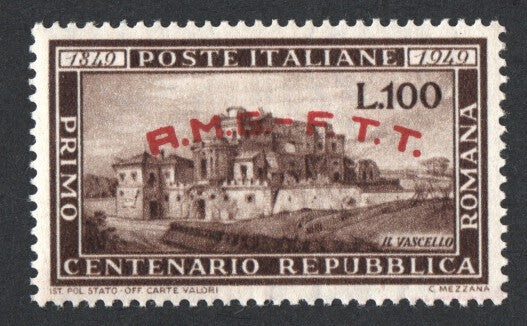 "#41 Trieste (Zone A) - Italy No. 518 Overprinted Type ""d"" in Red (MNH)"