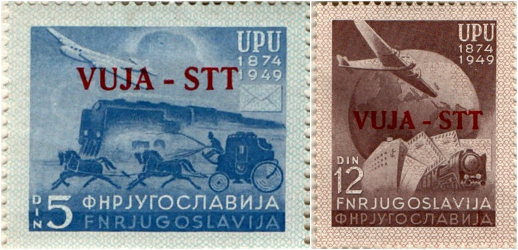 #15-16 Trieste (Zone B) - Yugoslavia Nos. 266 and 267 Overprinted in Carmine (MLH)