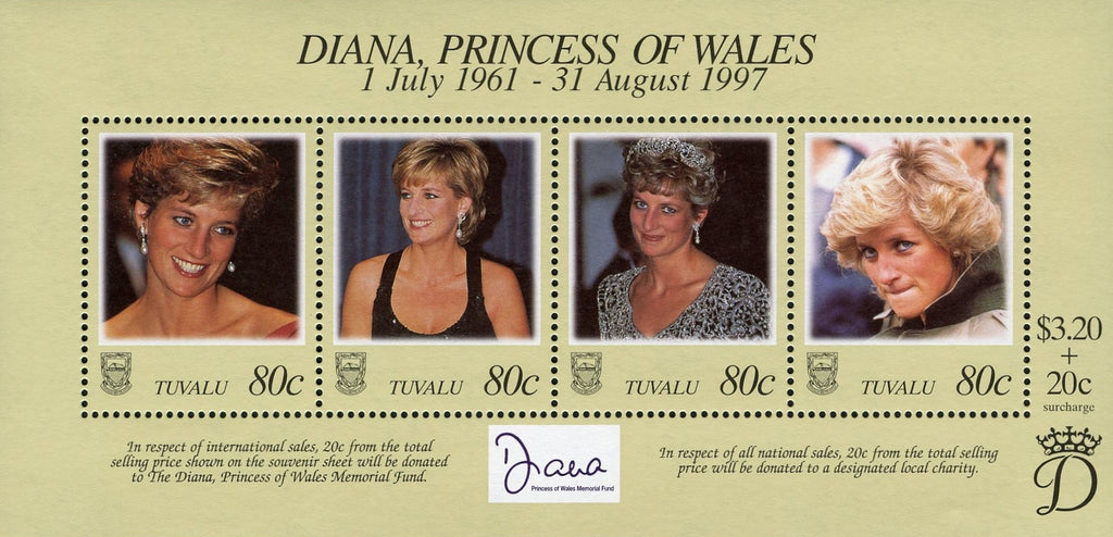 #762 Tuvalu - 1998 Diana, Princess of Wales, Sheet of 4 (MNH)