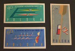 #1006-1008 Poland - 6th European Canoe Championships, Imperf (MNH)