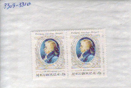 #3309-3310 Hungary - 1991 Stamp Day, Mozart, Set of 2 (MNH)