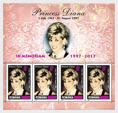 #5992 Romania - Princess Diana, No. 4335 Surcharged M/S (MNH)