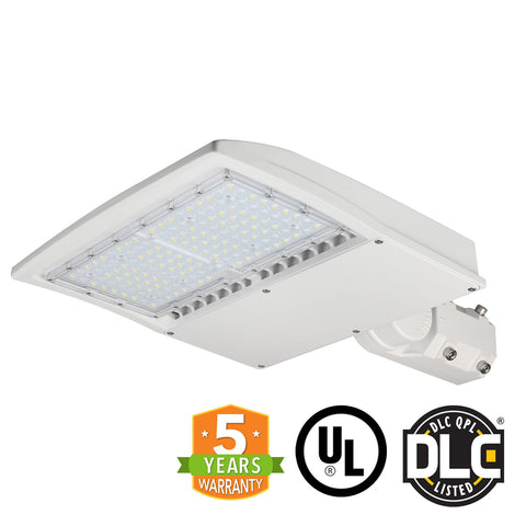 LED Street Light - 100W - Outdoor LED Slip Fitter Mount - White - DLC Listed - 5 Year Warranty - Green Light Depot