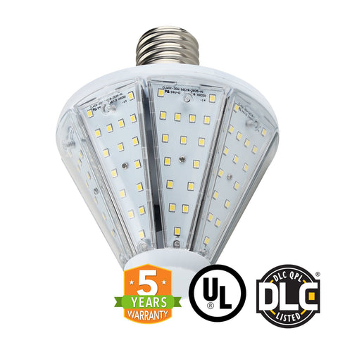 30W LED Corn Bulb Post Top - Top Socket - Mogul Base (E39) - (UL+DLC) - Green Light Depot