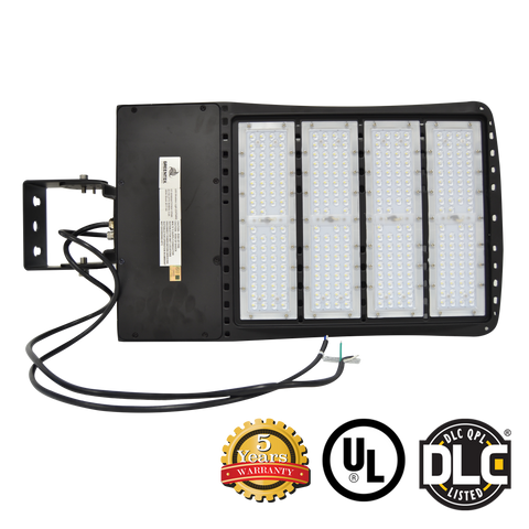 LED Flood Light - 240W - Outdoor LED Luminaire Yoke Mount - DLC Listed - 5 Year Warranty - 5700K - With Photocell Capability