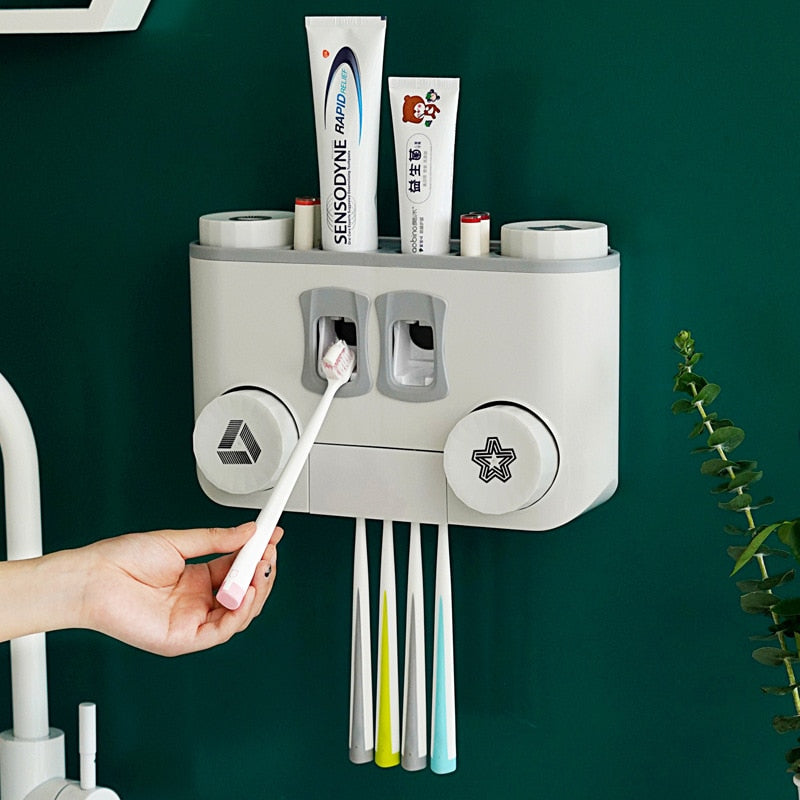 Toothbrush Holder and Toothpaste Dispenser Bathroom Storage Accessories