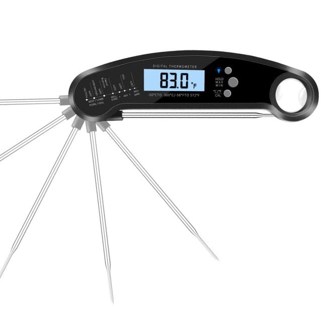 Waterproof Digital Barbecue Meat Thermometer Temperature Instant Reader with Calibration Backlight