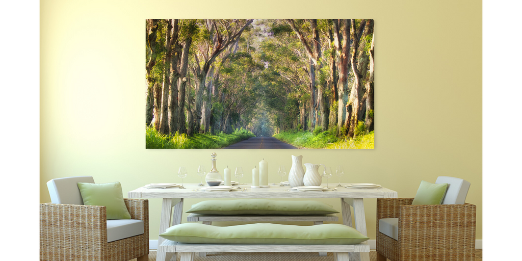 Photographic artwork of the tunnel of trees road to Koloa, Poipu, Kauai, Hawaii.