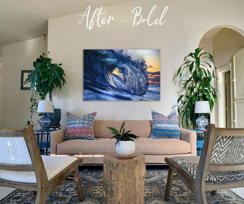 "Create bold, vibrant energy at home with ""Blue Steel""."