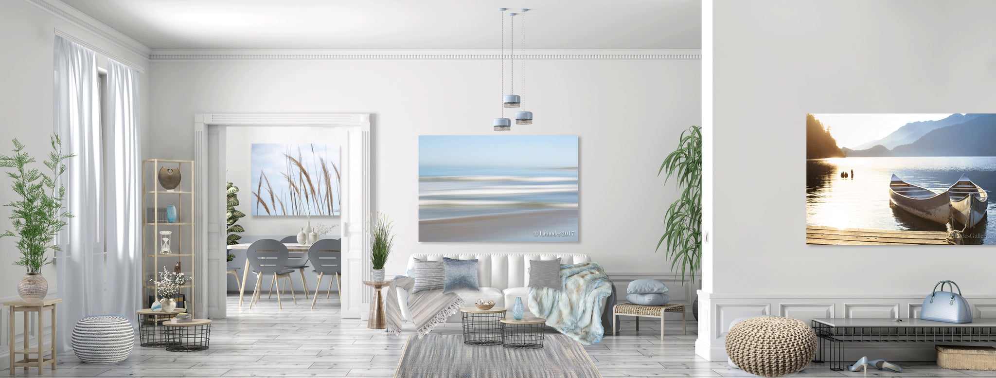 Expansive relaxation found in soft blues, grays, taupes, whites and pale browns. Transforming a bland space into an immersive experience with textures and colors. Streaks and line textures played throughout incorporating the line elements from the artwork into the space.