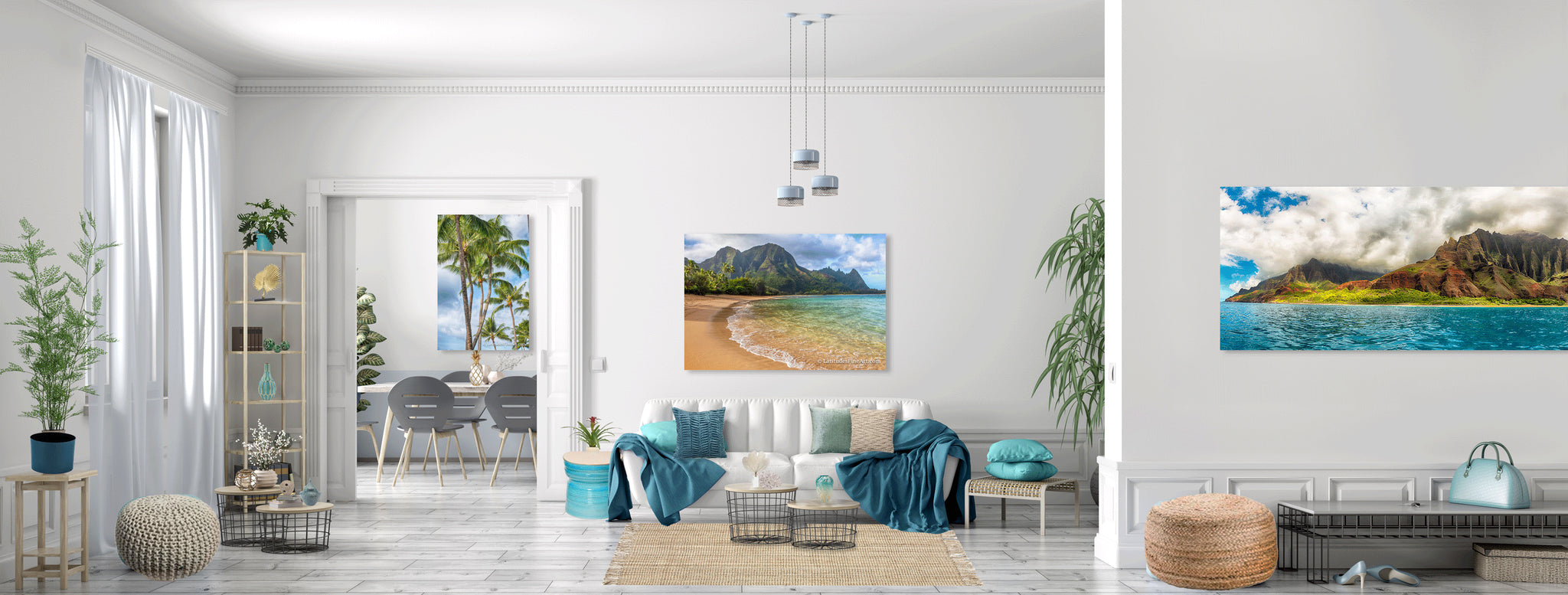 Transform a basic room with artwork as your inspiration and Hawaiian interior styling.