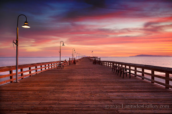 The Ventura Pier during a vivid pink Sunset
