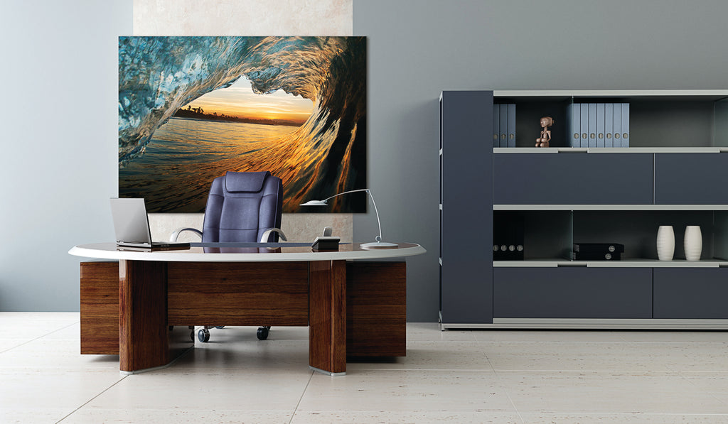 A dramatic wave photograph creates a bold impression in the office