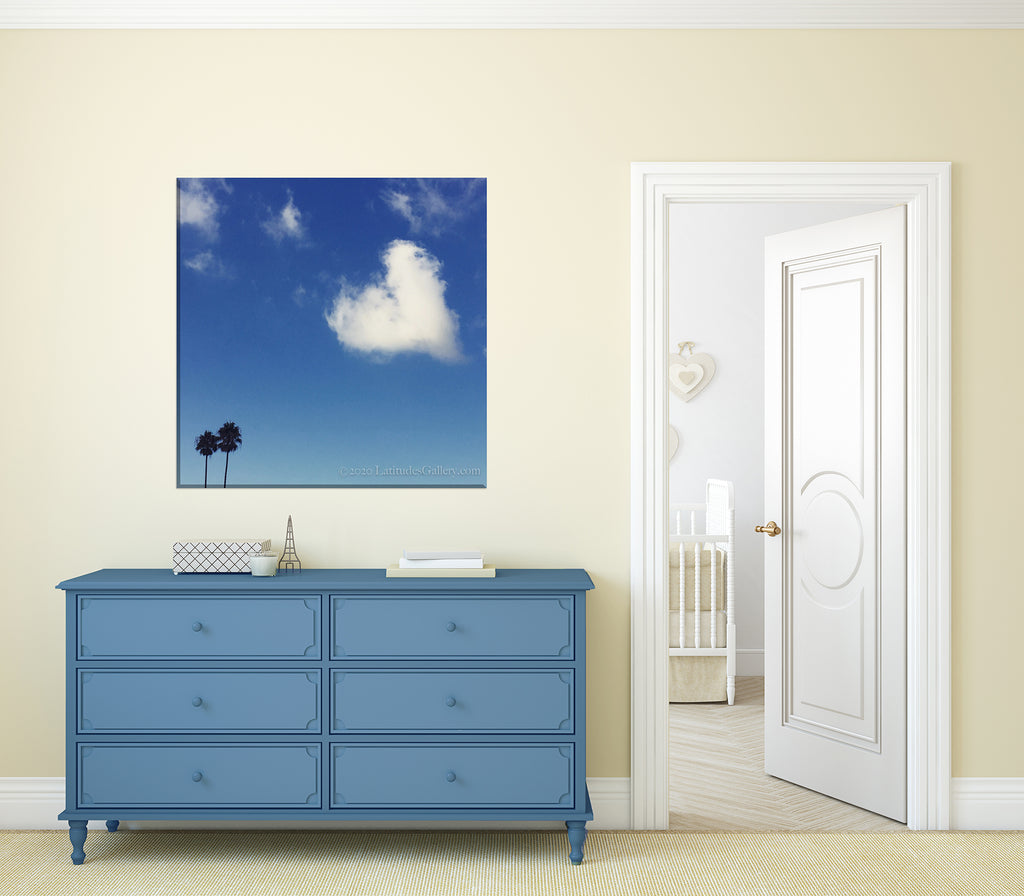 Whimsical Heart Cloud and Palm Tree Photograph