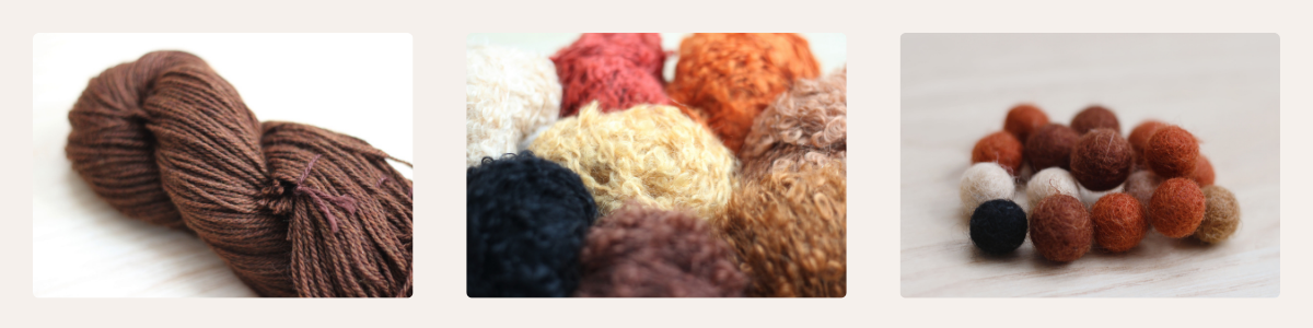 Fable Kids Limited three yarn hair types, from left to right: yarn hair (pictured in a medium brown yarn), curly mohair (pictured in red, orange, yellow, black, dark brown, medium brown), and wool felt hair buns (pictured in red, auburn, ivory, orange, dark brown, medium brown, black).