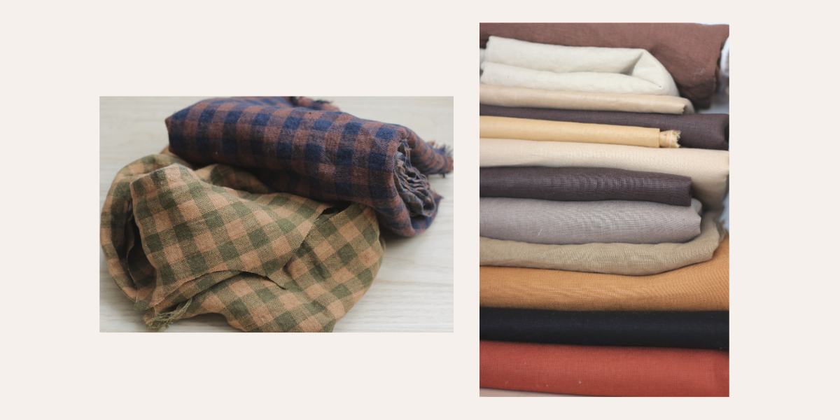 Fable Kids Handmade linen examples from left to right; two checkered linens in navy and brown and green and ocher, second picture in a stack of linens in various neutral shades for hair.