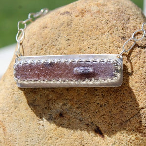 Amethyst Druzy Bar & Sterling Silver Necklace
