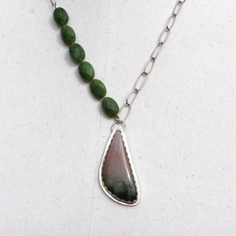 Polychrome Jasper, Faceted Serpentine, & Sterling Silver Necklace