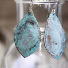 Load image into Gallery viewer, Patina Aged Copper Shield Earrings with Sterling Silver Ear Wires