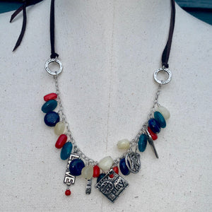 Multi Color Adjustable Leather Charm Necklace
