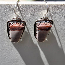 Load image into Gallery viewer, Porcelain Jasper & Sterling Silver Earrings, Copper Bezel, & Sterling Ear Wires