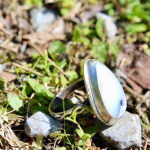 Dendritic Opal & Sterling Silver Ring