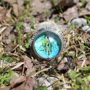 Lizard Eye Cabochon & Sterling Silver Ring