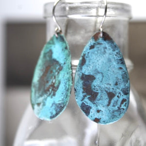Patina Aged Copper Shield Earrings with Sterling Silver Ear Wires