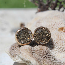 Load image into Gallery viewer, Pyrite Druzy & Gold Filled Bezel and Serling Silver Earrings (Post)