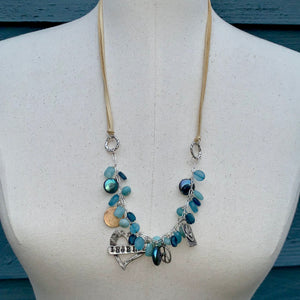 Ocean Blue Gemstones and Adjustable Leather Charm Necklace