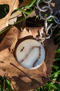 Montana Agate & Sterling Silver Necklace w Leather (Adjustable)