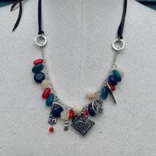 Load image into Gallery viewer, Multi Color Adjustable Leather Charm Necklace